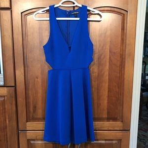 Royal Blue Mini Dress with Cutouts on the Sides